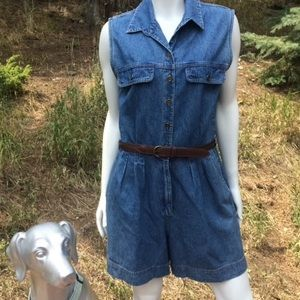 Vintage St. John's Bay Denim Romper with Belt